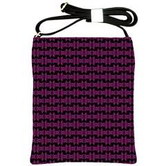 Pink Black Retro Tiki Pattern Shoulder Sling Bags
