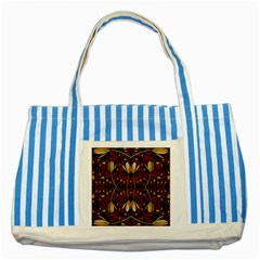 Fantasy Flowers And Leather In A World Of Harmony Striped Blue Tote Bag