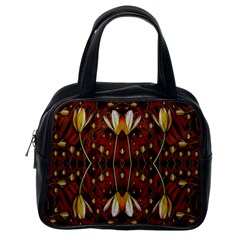 Fantasy Flowers And Leather In A World Of Harmony Classic Handbags (One Side)