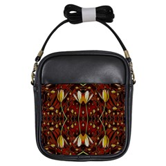 Fantasy Flowers And Leather In A World Of Harmony Girls Sling Bags