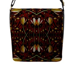 Fantasy Flowers And Leather In A World Of Harmony Flap Messenger Bag (L)