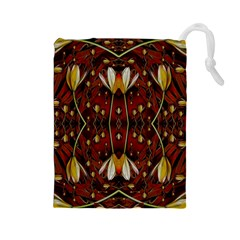Fantasy Flowers And Leather In A World Of Harmony Drawstring Pouches (Large)
