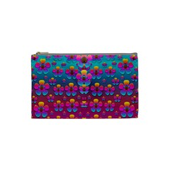 Freedom Peace Flowers Raining In Rainbows Cosmetic Bag (Small)