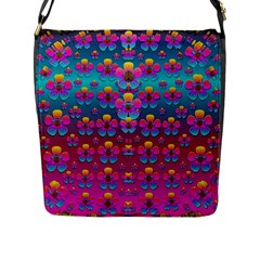 Freedom Peace Flowers Raining In Rainbows Flap Messenger Bag (L)