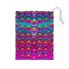 Freedom Peace Flowers Raining In Rainbows Drawstring Pouches (large)