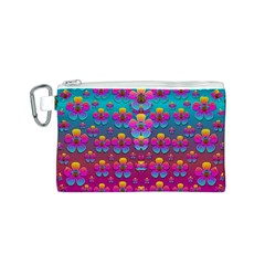 Freedom Peace Flowers Raining In Rainbows Canvas Cosmetic Bag (S)