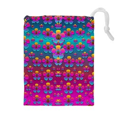 Freedom Peace Flowers Raining In Rainbows Drawstring Pouches (Extra Large)
