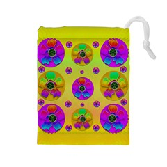 Floral Love And Why Not In Neon Drawstring Pouches (Large)
