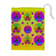 Floral Love And Why Not In Neon Drawstring Pouches (Extra Large)