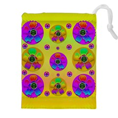Floral Love And Why Not In Neon Drawstring Pouches (XXL)