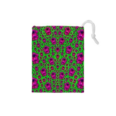 Fantasy Valentine In Floral Love And Peace Time Drawstring Pouches (Small)