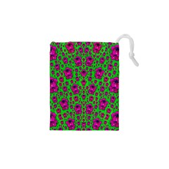 Fantasy Valentine In Floral Love And Peace Time Drawstring Pouches (xs)