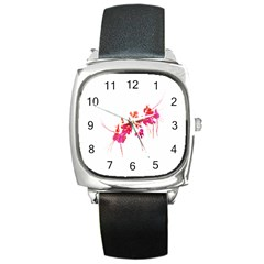 Minimal Floral Print Square Metal Watch