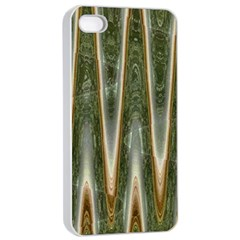 Green Brown Zigzag Apple iPhone 4/4s Seamless Case (White)