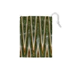 Green Brown Zigzag Drawstring Pouches (small)