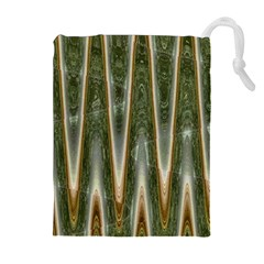Green Brown Zigzag Drawstring Pouches (extra Large)