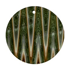 Green Brown Zigzag Ornament (round)