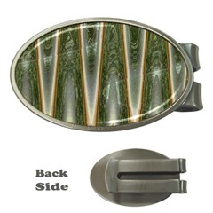 Green Brown Zigzag Money Clips (Oval)