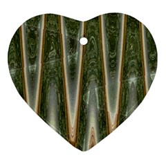 Green Brown Zigzag Heart Ornament (2 Sides)