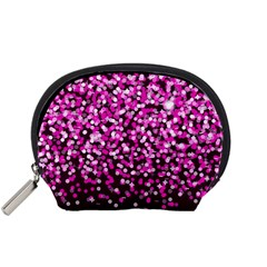 Pink Glitter Rain Accessory Pouches (Small)