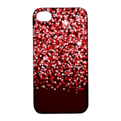 Red Glitter Rain Apple iPhone 4/4S Hardshell Case with Stand