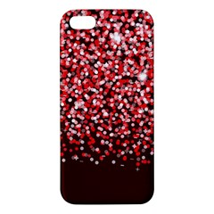 Red Glitter Rain Apple iPhone 5 Premium Hardshell Case