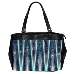 Blue Turquoise Zigzag Pattern Office Handbags (2 Sides)