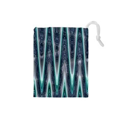 Blue Turquoise Zigzag Pattern Drawstring Pouches (small)