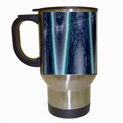 Blue Turquoise Zigzag Pattern Travel Mugs (White)