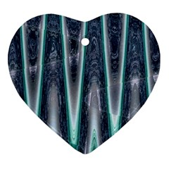 Blue Turquoise Zigzag Pattern Heart Ornament (2 Sides)