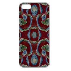 Fancy Maroon Blue Design Apple Seamless iPhone 5 Case (Clear)