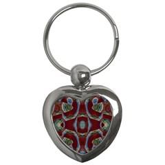 Fancy Maroon Blue Design Key Chains (Heart)