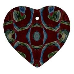 Fancy Maroon Blue Design Heart Ornament (2 Sides)