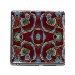 Fancy Maroon Blue Design Memory Card Reader (Square)