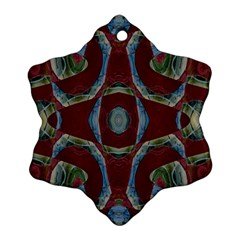 Fancy Maroon Blue Design Ornament (Snowflake)