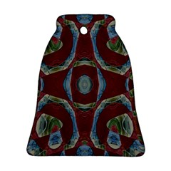 Fancy Maroon Blue Design Bell Ornament (2 Sides)