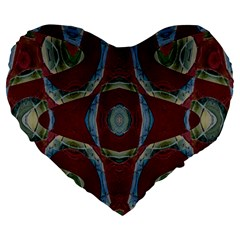 Fancy Maroon Blue Design Large 19  Premium Flano Heart Shape Cushions