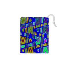 Bright Blue Mod Pop Art  Drawstring Pouches (XS)