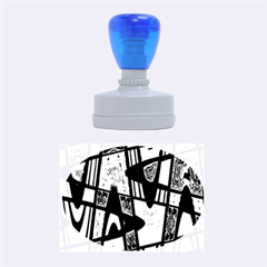 Bright Blue Mod Pop Art  Rubber Oval Stamps