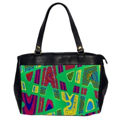 Bright Green Mod Pop Art Office Handbags (2 Sides)