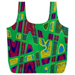 Bright Green Mod Pop Art Full Print Recycle Bags (L)