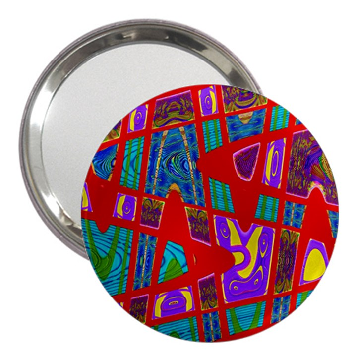 Bright Red Mod Pop Art 3  Handbag Mirrors