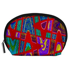 Bright Red Mod Pop Art Accessory Pouches (Large)
