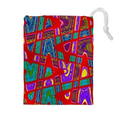 Bright Red Mod Pop Art Drawstring Pouches (Extra Large)