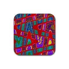 Bright Red Mod Pop Art Rubber Coaster (Square)