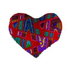 Bright Red Mod Pop Art Standard 16  Premium Flano Heart Shape Cushions