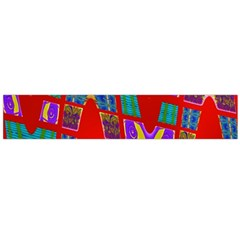 Bright Red Mod Pop Art Flano Scarf (Large)