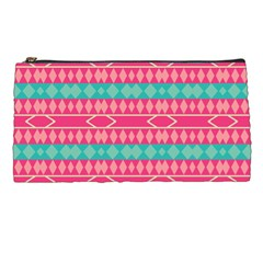 Pink blue rhombus pattern                               	Pencil Case
