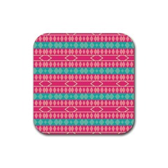 Pink blue rhombus pattern                               Rubber Square Coaster (4 pack