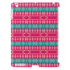 Pink blue rhombus pattern                               Apple iPad 3/4 Hardshell Case (Compatible with Smart Cover)